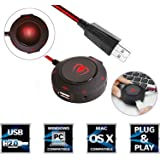 USB External Sound Card,Beexcellent Multifunctional Usb Hubs Noise Cancelling Headset Adapter with 3.5mm Audio 7.1 Surround Stereo Adapter and Microphone Jack for Headset Microphone Mac IOS PC(Red)
