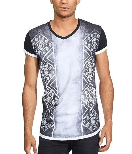 c5415b135c903 trueprodigy Casual Homme Tee Shirt Motif imprimé, Vetements Swag Marque col  V (Manche Courte & Slim fit Classic), t-Shirt Mode Fashion Couleur: Blanc  ...