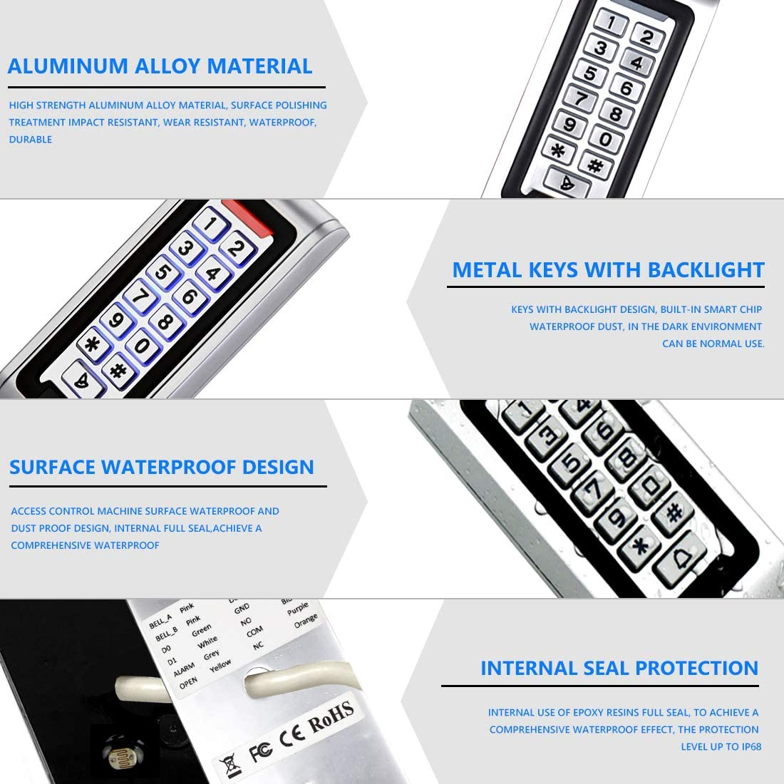 Support 2000 Users ID Card Reader Backlight Zinc Alloy Metal Case AMOCAM Door Access Control System Stand-Alone Password Keypad Waterproof 5PCS Proximity RFID 125Khz Key Fobs Keychains