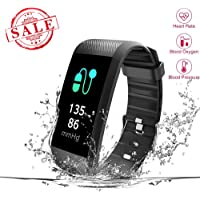 New Fitness Tracker, Heart Rate Monitor, IP67 Waterproof Smart Bracelet with Camera Remote Shoot, Activity Fitness Wristband R11 Pedometer for Bluetooth Android and iOS (R11-Black)