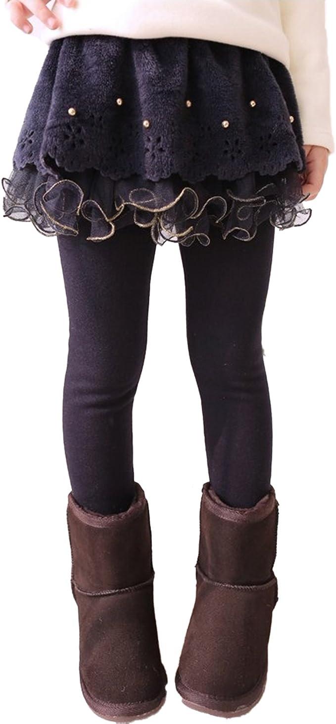 Mxssi Leggings Niñas con Falda - Pantalones Chico Legging Largo ...