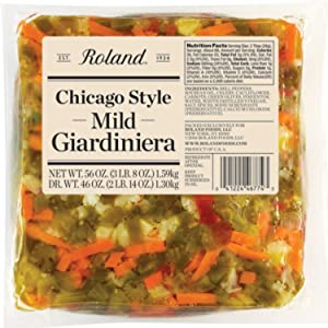 Roland Foods Chicago Style Mild Giardiniera, Italian Pepper Relish, Sourced in the USA, 56-Ounce Pouch