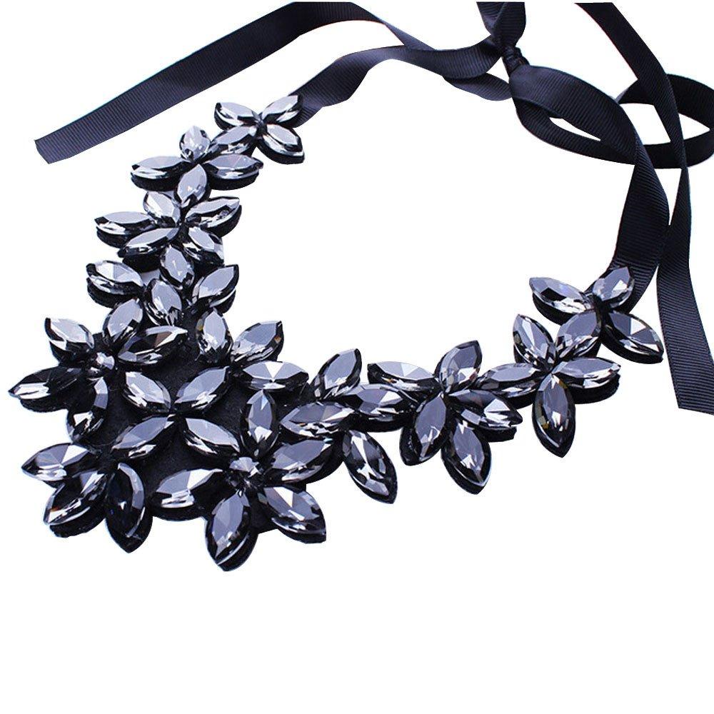 Feitengtd 2019 Fashion Flower Ribbon Chain Short Necklace Pendant Crystal Choker Chunky Collar