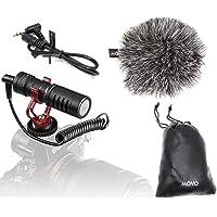 Movo VXR10 universele video-microfoon voor smartphones en camera's met houder, windbescherming, tas, compatibel met…