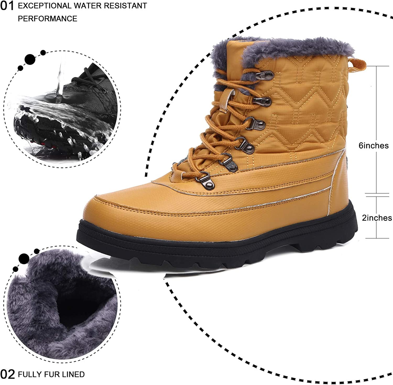 YIRUIYA Stiefel Herren Gefüttert Winterstiefel Wasserdicht Boots Outdoor Schneeschuhe Profil Khaki DMRUz