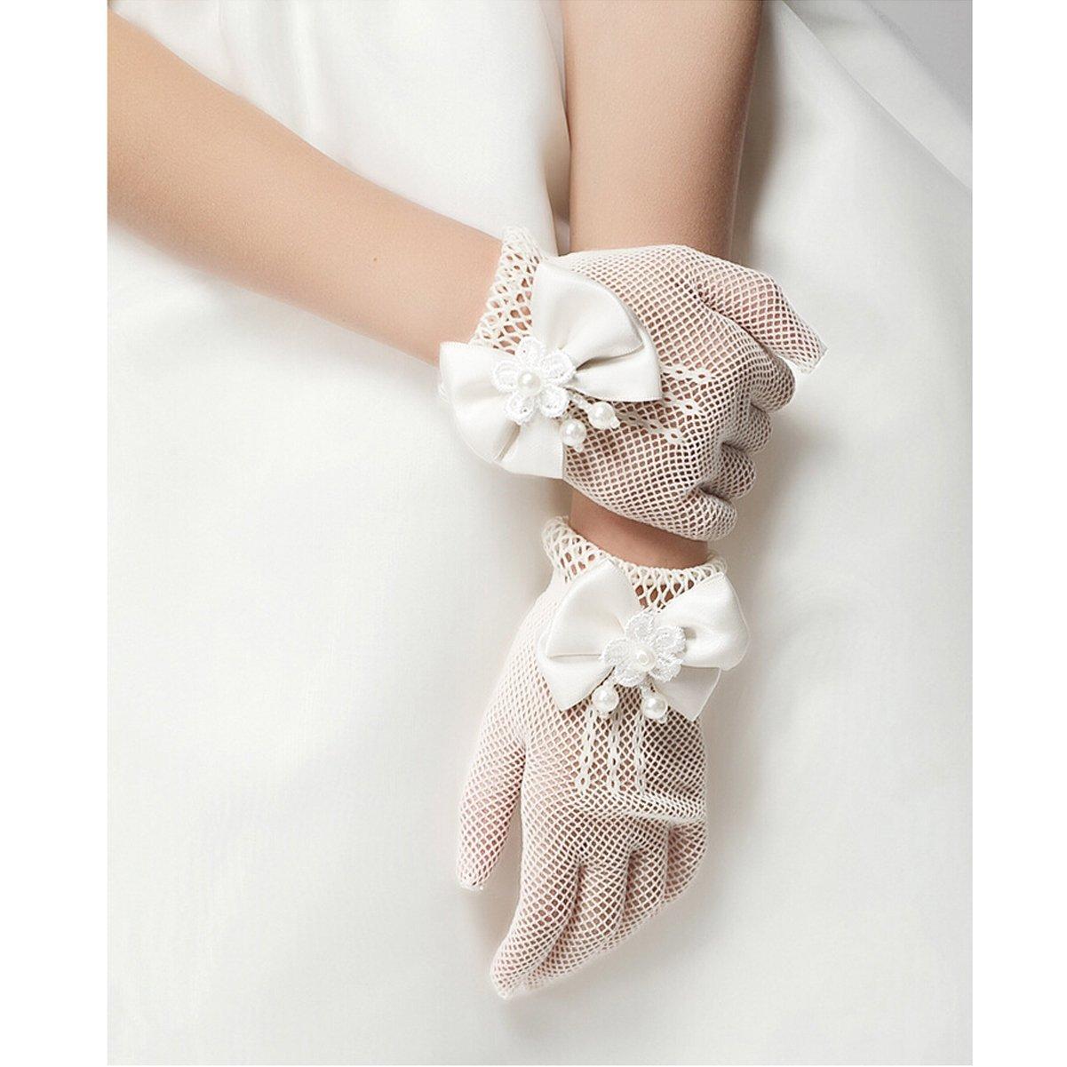 Unilove Flower Girl Gloves White Ivory Lace Short Princess Gloves for Wedding Unilove-Glove-Ivory