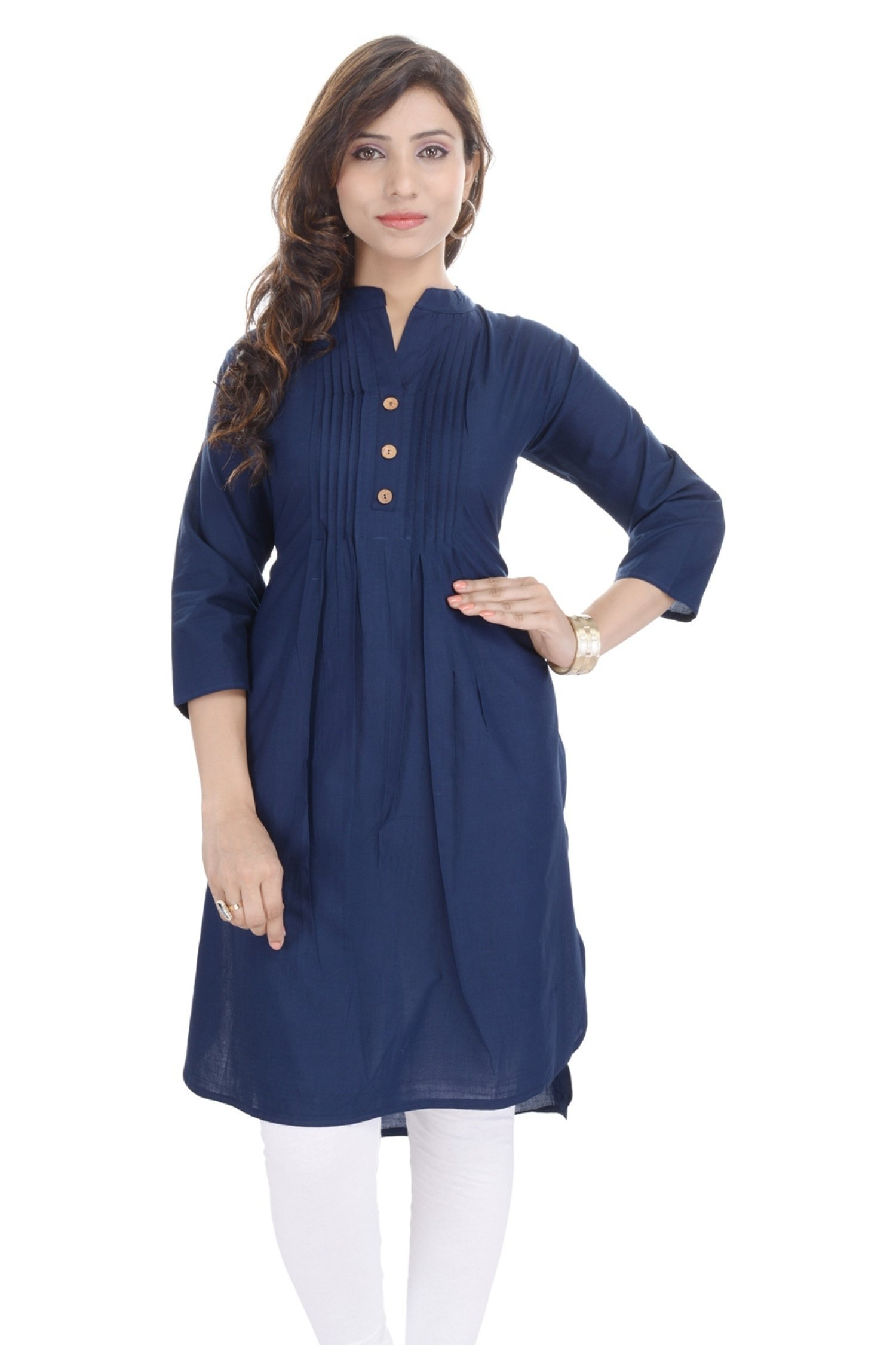Chichi Women's Casual Printed Cotton Kurti Blue, XXL