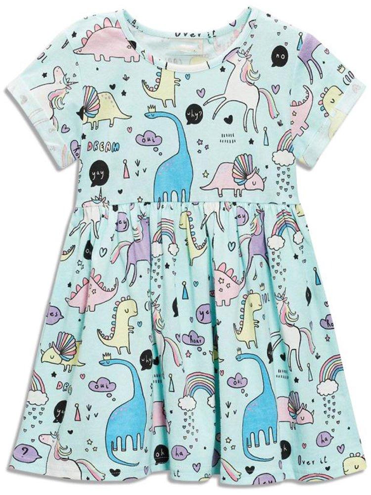 Little Girls Dinosaur Tunic Short Sleeve Summer Casual Dress size 5(4-5years)