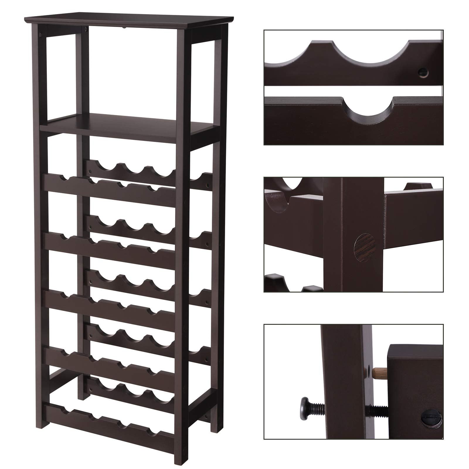 VASAGLE 20 Wooden Wine Rack, Free Standing Bottles Display Storage Shelf, with 2 Slatted Shelves,18.4''L × 10.4''W × 42.9''H, Espresso ULWR03BR by VASAGLE (Image #5)