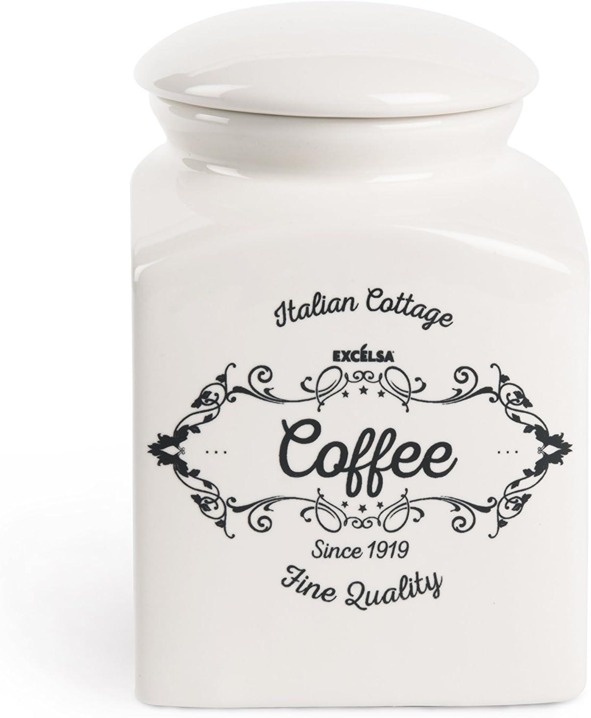 Excelsa Fin Quality Bocal /à caf/é C/éramique Blanc