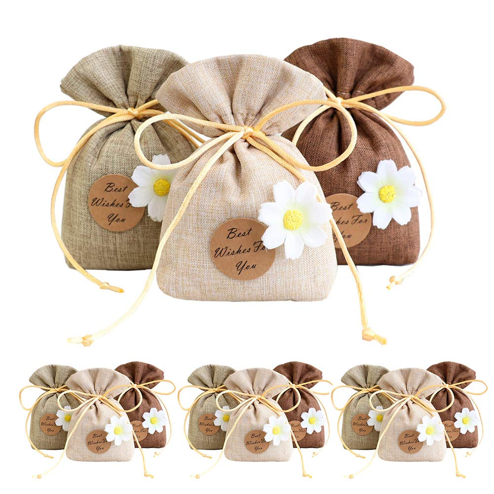 Geila 12pcs Sachet Empty Bags Polyester Cotton Linen Pouch for Lavender, Spice and Herbs (12 pcs) Geila Co. Ltd