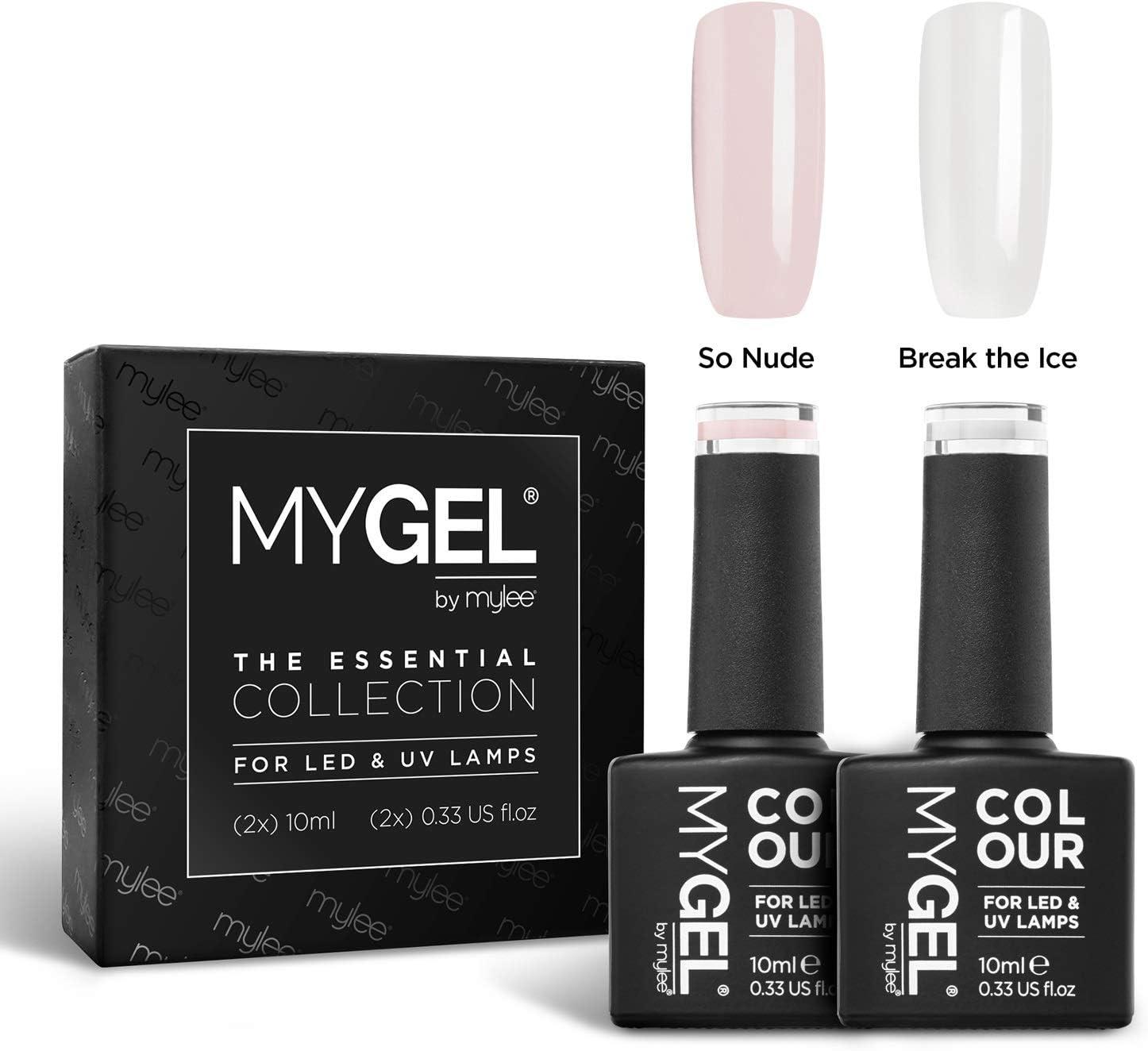MyGel - Esmalte de uñas de gel para manicura francesa, 2 x 10 ml, UV/LED, manicura y pedicura para uso profesional, salón y hogar, de larga duración y fácil de aplicar