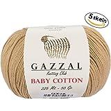 5 Skein (Pack) Total 8.8 Oz. Gazzal Baby Cotton Each 1.76 Oz (50g) / 150 Yrds (165m) Soft, Fine Baby Yarn, 60% Cotton (Beige - 3424)