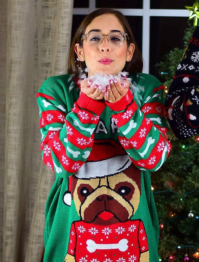 Tstars Santa Paws Pug Ugly Christmas Sweater Funny Men Women Festive Holiday Sweater