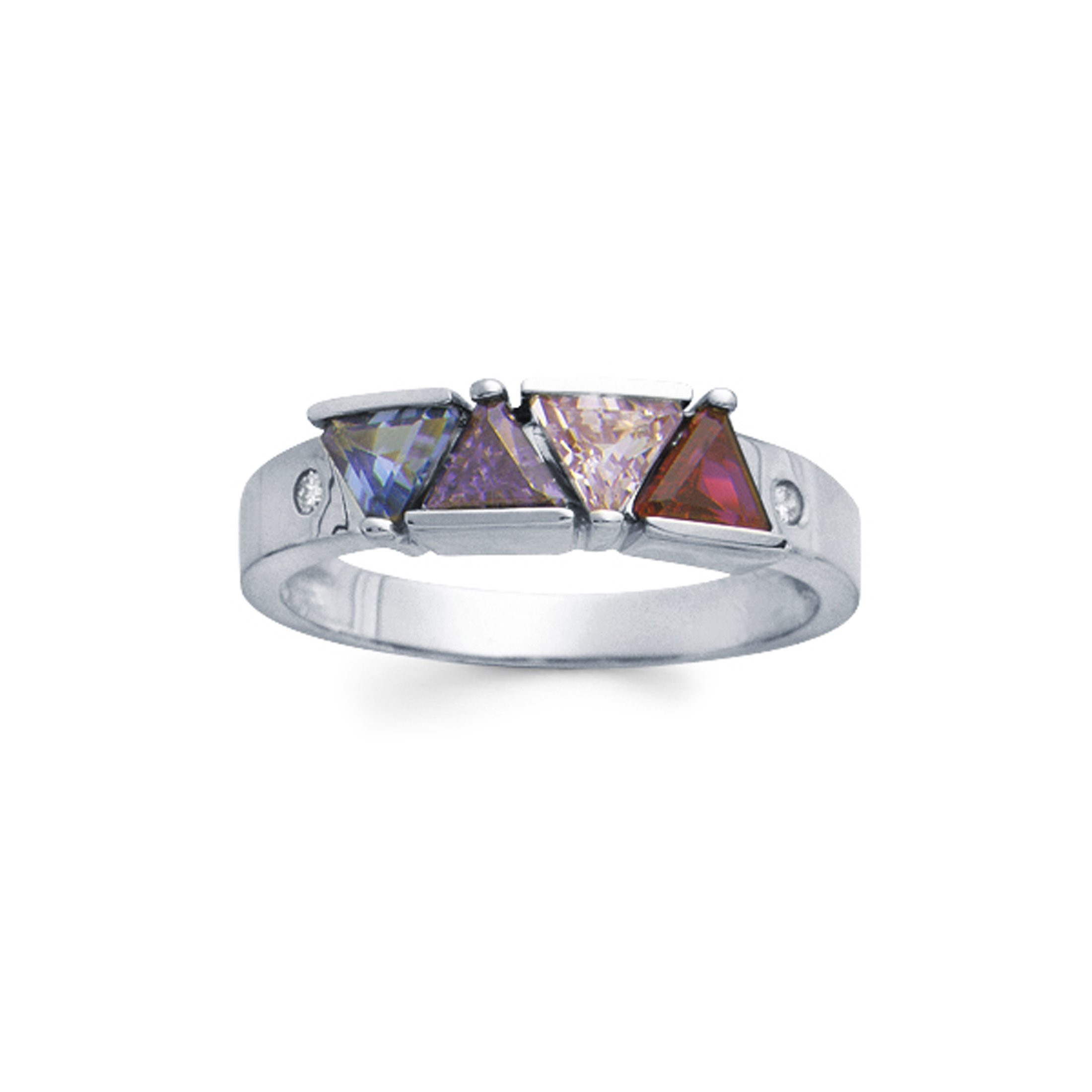 925 Sterling Silver Personalized Simulated Birthstone Ring with Diamond Accent - Custom Made!