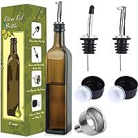 Aozita Dispensador de aceite de oliva de cristal de 470 ml, aceite marrón oscuro y vinagre con vertedores y embudo…