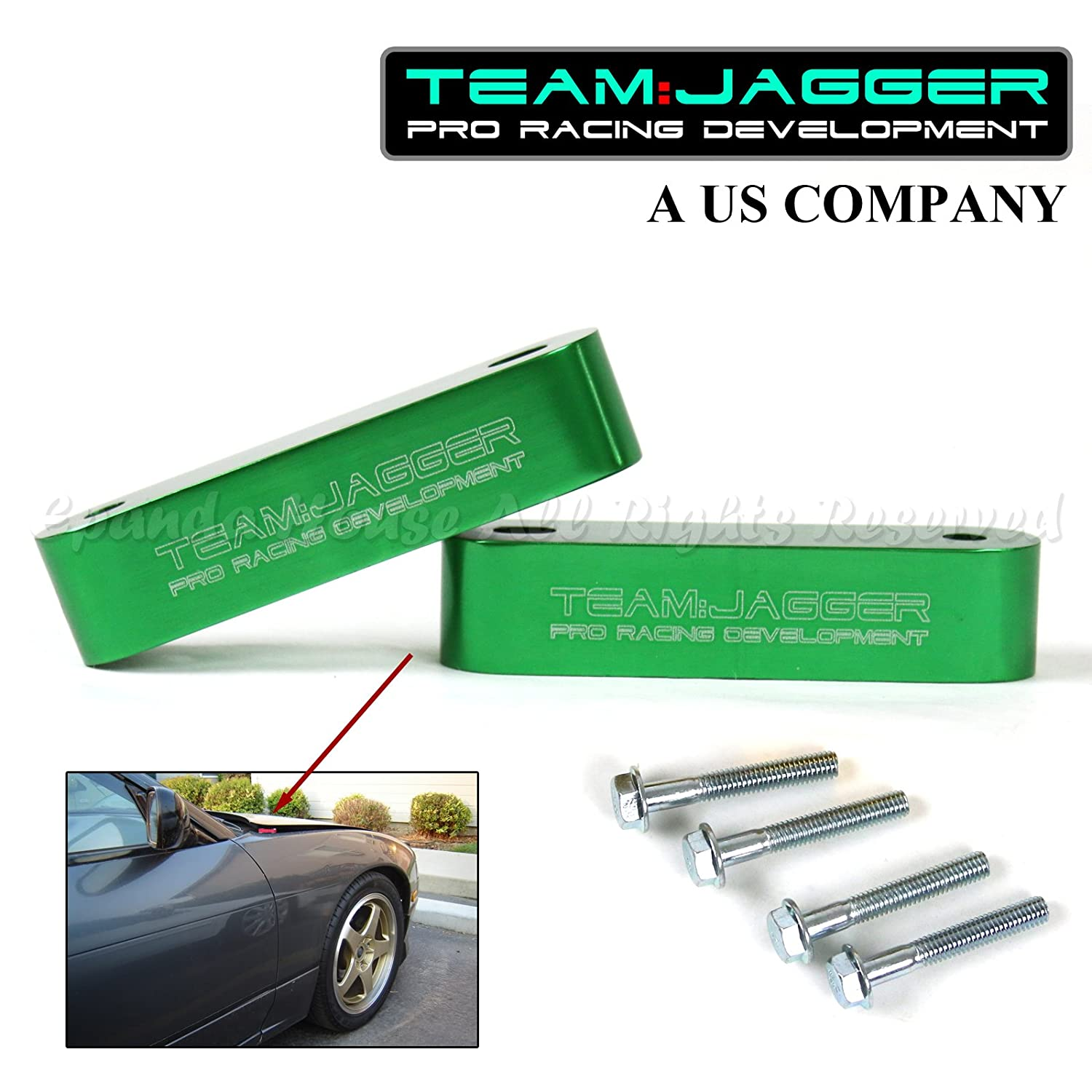 for 90-15 Accord JDM Style Hood Riser Spacer Vent Engine Hot Air Anodized Green EpandaHouse