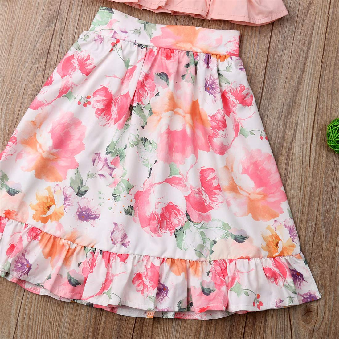 Floral Ruffled Long Skirts Tutu Dress Outfit Set Summer Clothes Toddler Baby Girls Camisole Buttons Shirt Top