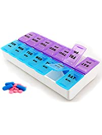 7 Day Pill Box with Clip Lids Medicine Tablet Holder Organiser Storage Travel Dispenser by BML