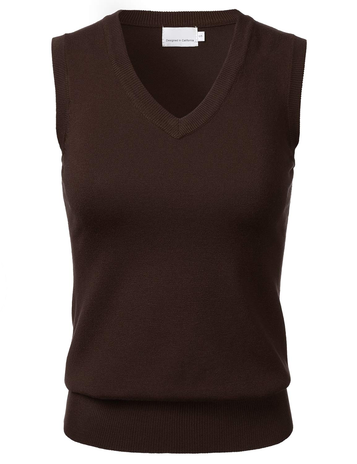 FLORIA Women Solid Classic V-Neck Sleeveless Pullover Sweater Vest Top FSW002