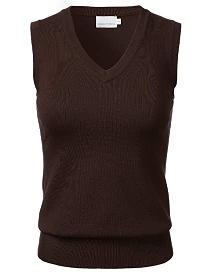Womens Solid Classic V Neck Sleeveless Pullover Sweater Vest Top At