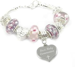 Prima Comunione con incisione personalizzata rosa & lilla braccialetto con ciondolo, da ragazza