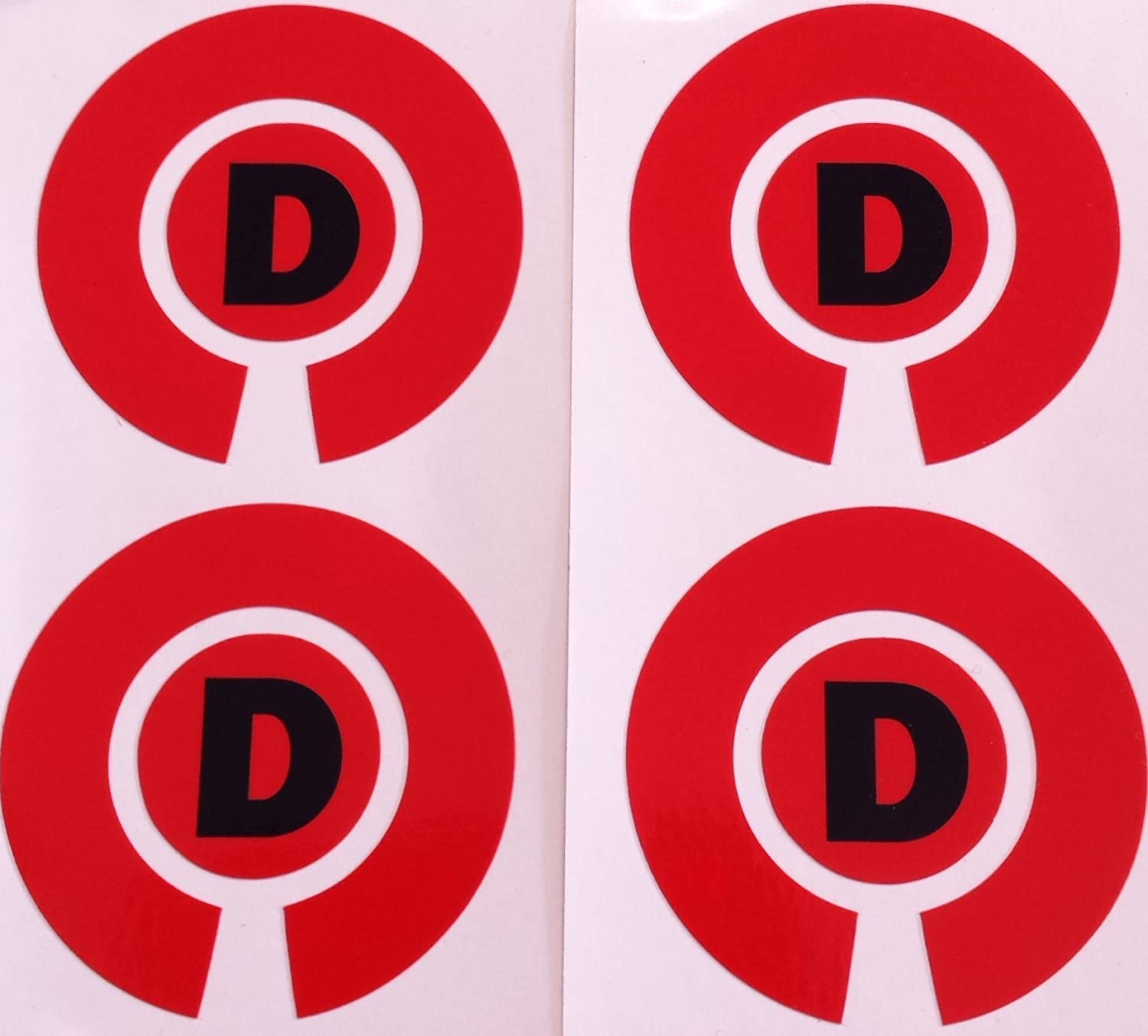 Crown Green Lawn Indoor Bowls Adhesive Lettered Coloured Marker Labels Set of 4 (Red, D)