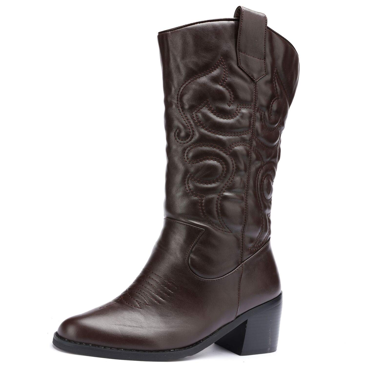 Brown Odema Womens Wide Toe Cowboy Western Tabs Boots Low Heel Pull On Mid Calf Bootie