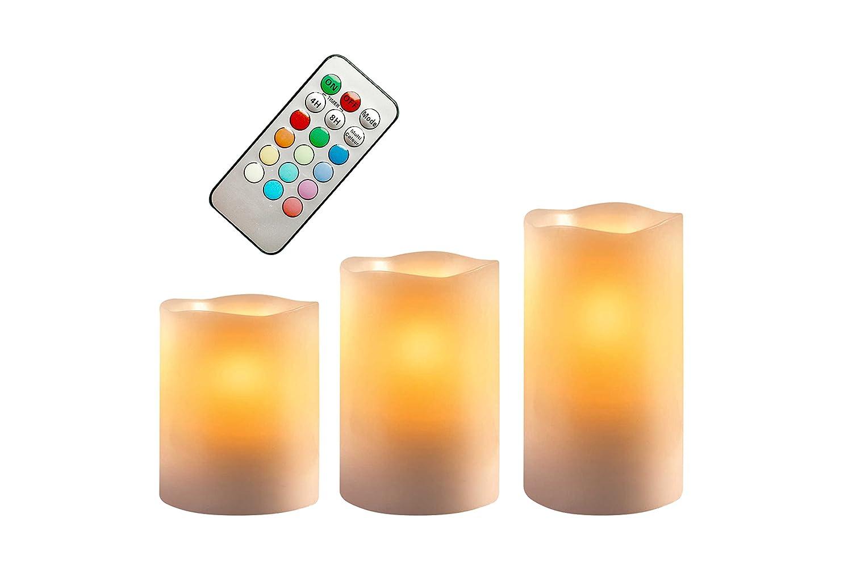BEPER 70.450 Set 3 CANDELE CERA LAMPADA LED VARIAZIONE 12 COLORI