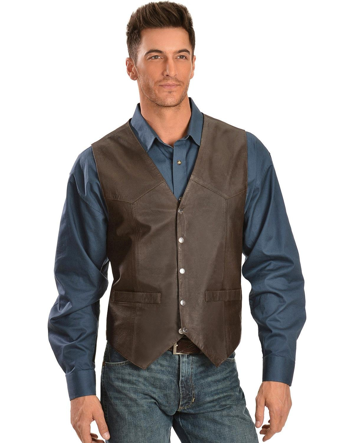 Scully Men's Lambskin Snap Front Vest Brown X-Large