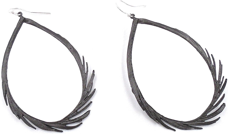 Feather Silver Hoop Earrings by Michael Michaud #3131BZSP