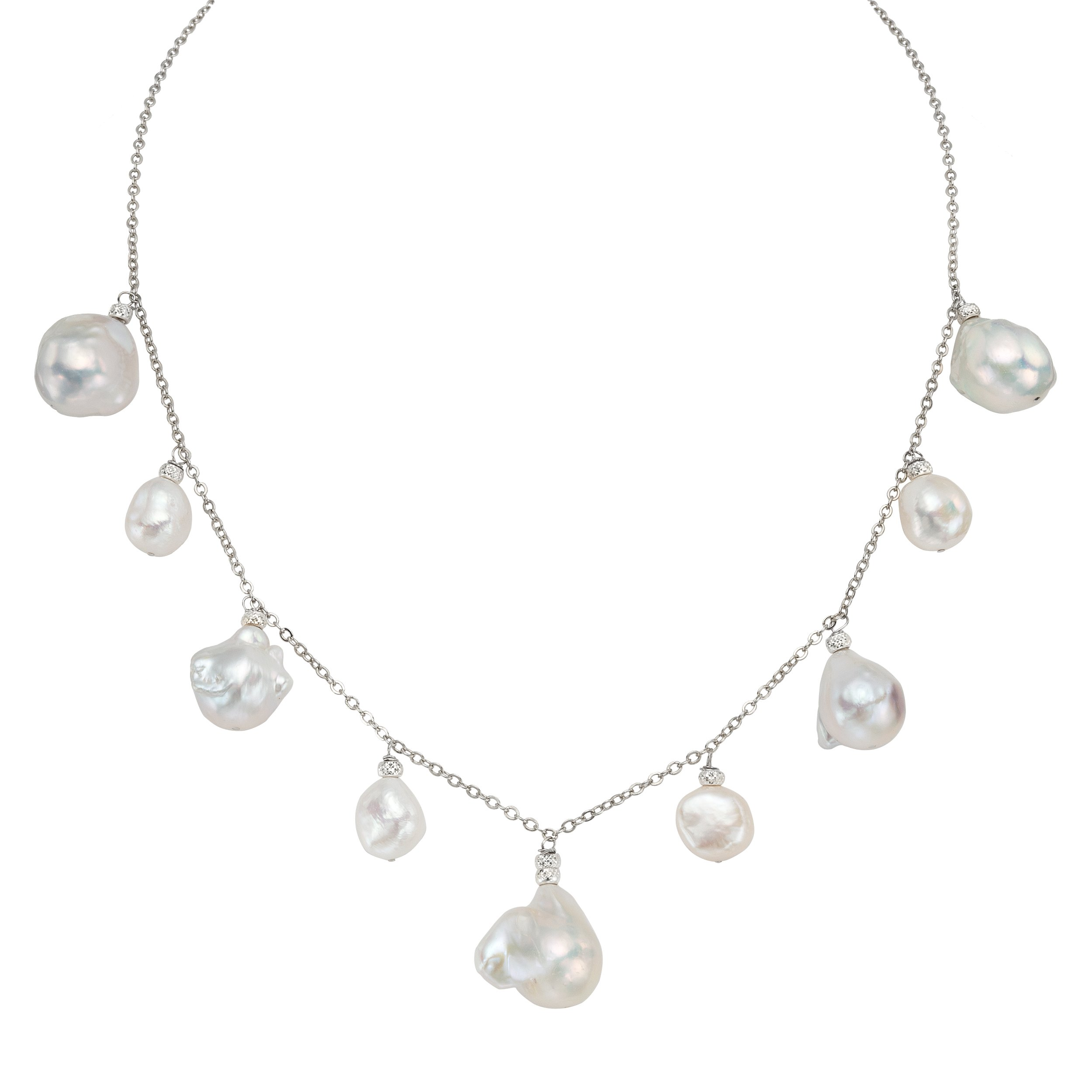 Sterling Silver White Culturded Freshwater Pearl Chain Necklace (11-20 mm) Perfect Gift