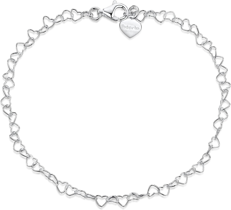 Amberta® Joyería - Pulsera - Fina Plata De Ley 925 - Cadena de Corazón - 3 mm - 19 20 cm