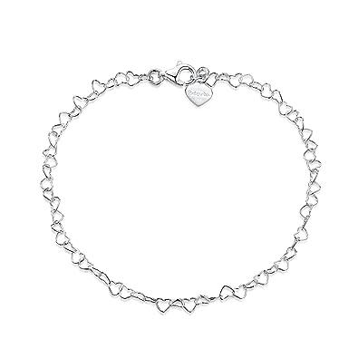 Amberta 925 Sterling Silver 2 mm Snow/Rock Chain Bracelet Size 7