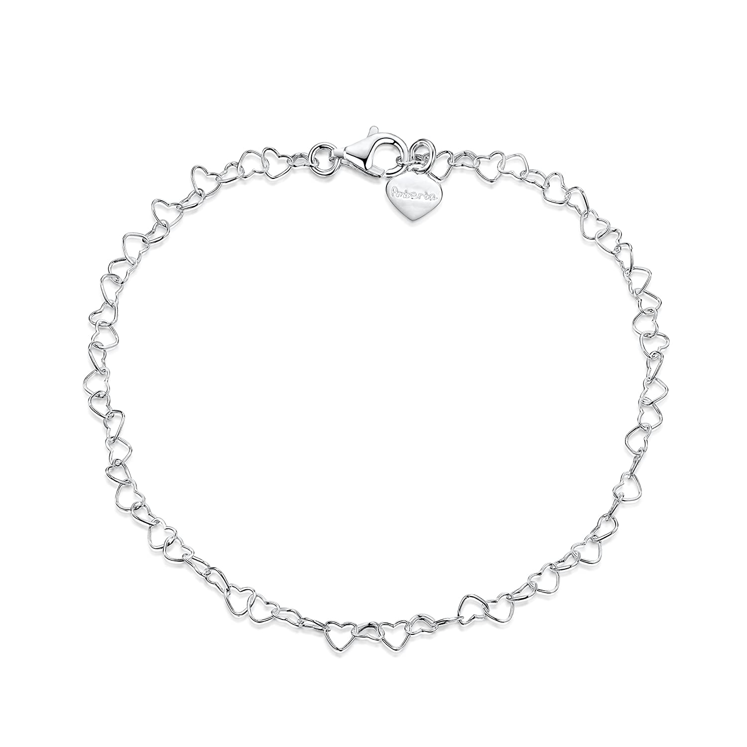 925 Fine Sterling Silver Naturally Adjustable Anklet - 3 mm Heart Chain Ankle Bracelet - up to 10 inch - Flexible Fit Amberta BIA-S925-CHAIN-052-040-250