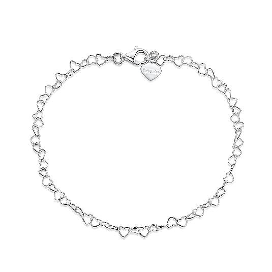 Amberta® Joyería - Pulsera - Fina Plata De Ley 925 - Cadena de Corazón - 3 mm - 19 20 cm (20cm)