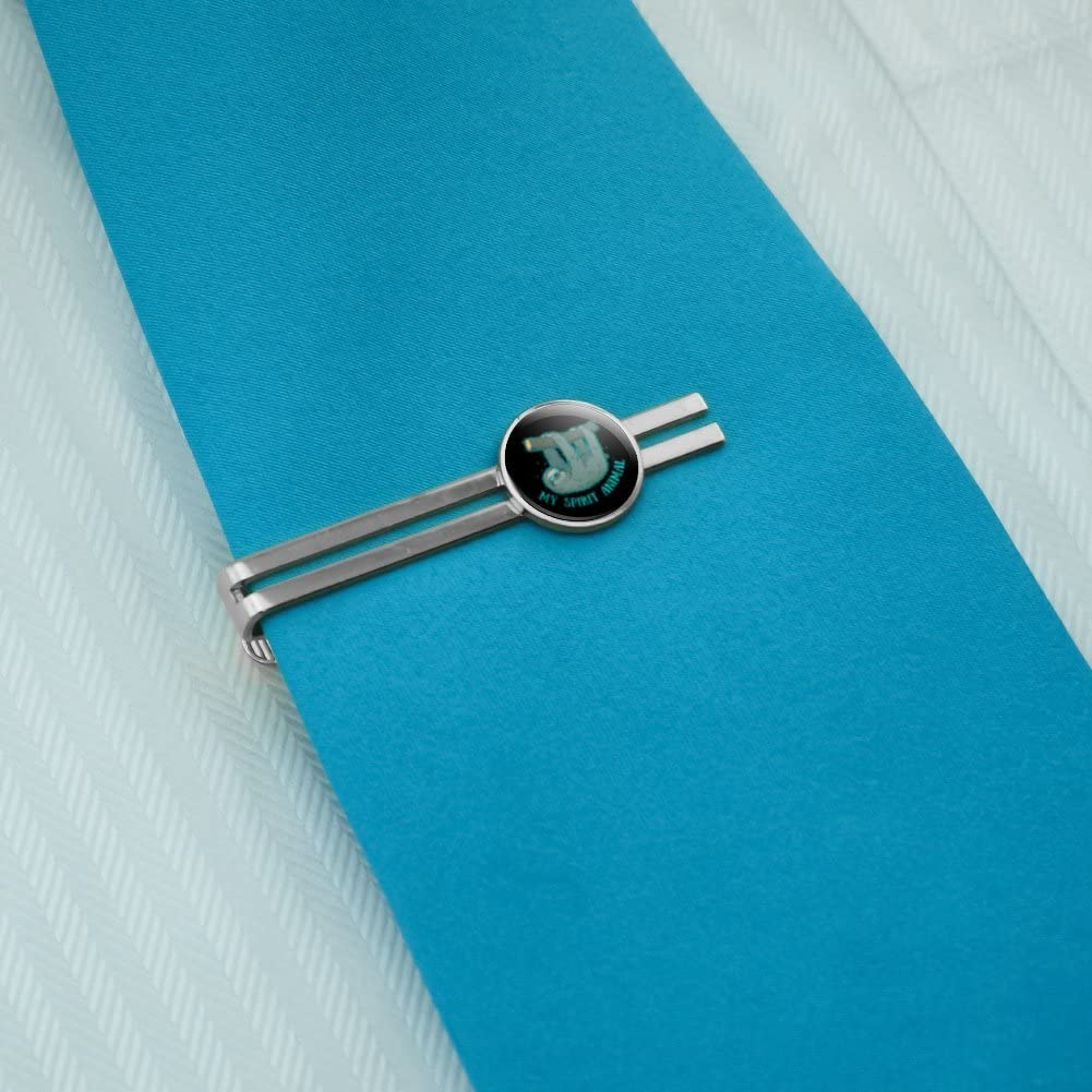 GRAPHICS /& MORE My Spirit Animal is a Sloth Round Tie Bar Clip Clasp Tack Silver Color Plated