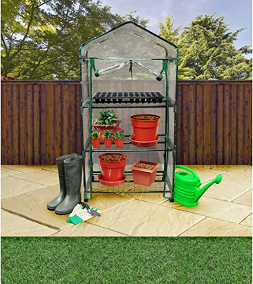 Invernadero 3 niveles de ruedas Roll Up Front Panel de la puerta con cierre de cremallera: Amazon.es: Jardín