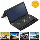 Solar Powered Panel Phone Charger Portable Dual USB for iPhone 6 6s 7 Plus, Samsung Galaxy S6 S7 Edge, Android BlitzWolf 15W Foldable Water Resistant SunPower Charger with 2 USB Port