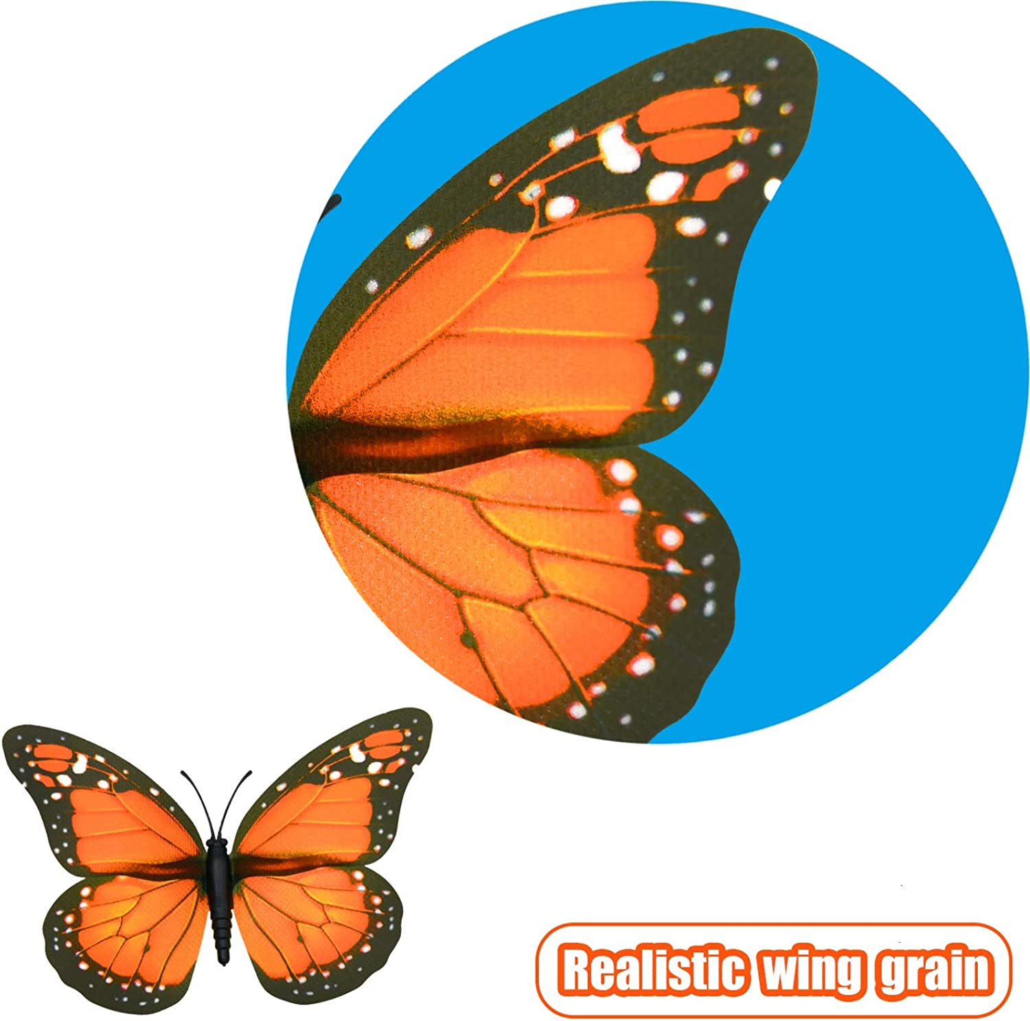 AQUEENLY Monarch Butterfly Decorations, 4.72'' Orange Premium Artificial Monarch Butterfly to Decorate for Craft, Home, Wall, Wedding, Party (12 Pcs): Home & Kitchen