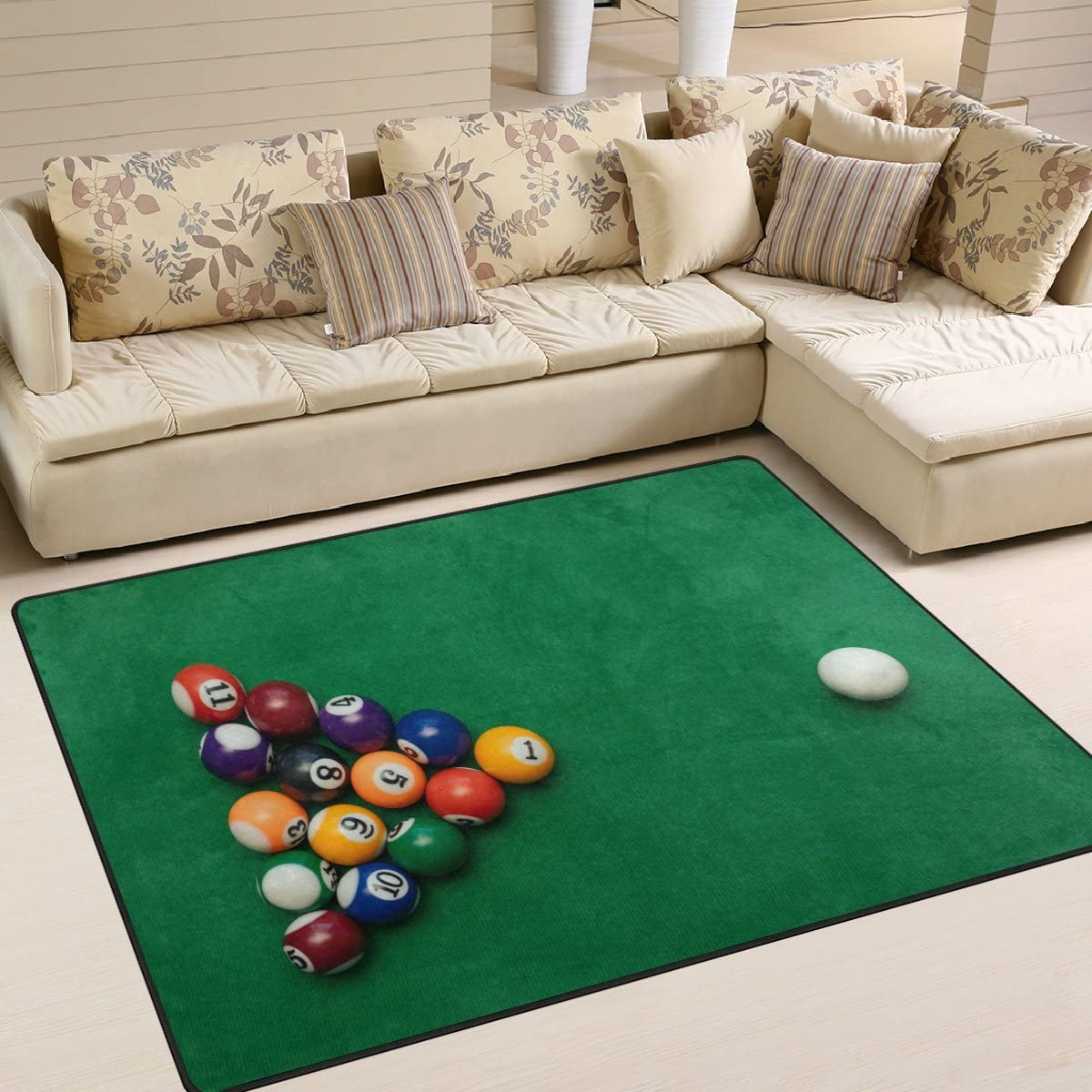 ALAZA American Billiards Pool on Green Table Area Rug Rugs for Living Room Bedroom 7 x 5