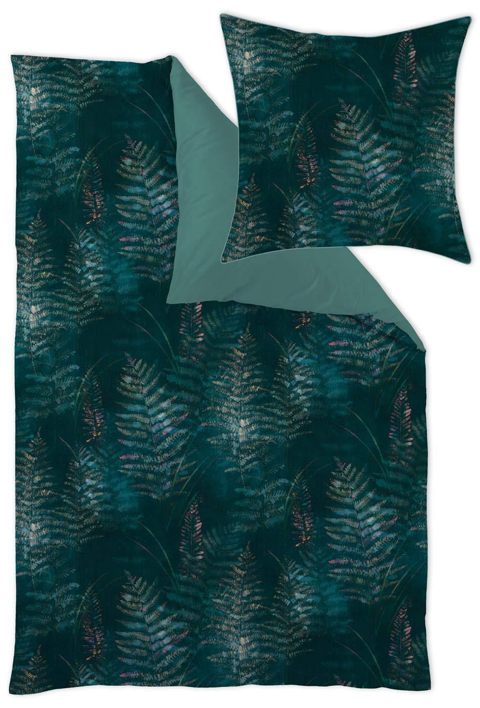 Curt Bauer Jersey Bettwäsche 4 teilig Bettbezug 135 x 200 cm Kopfkissenbezug 40 x 80 cm Abiona greenerey