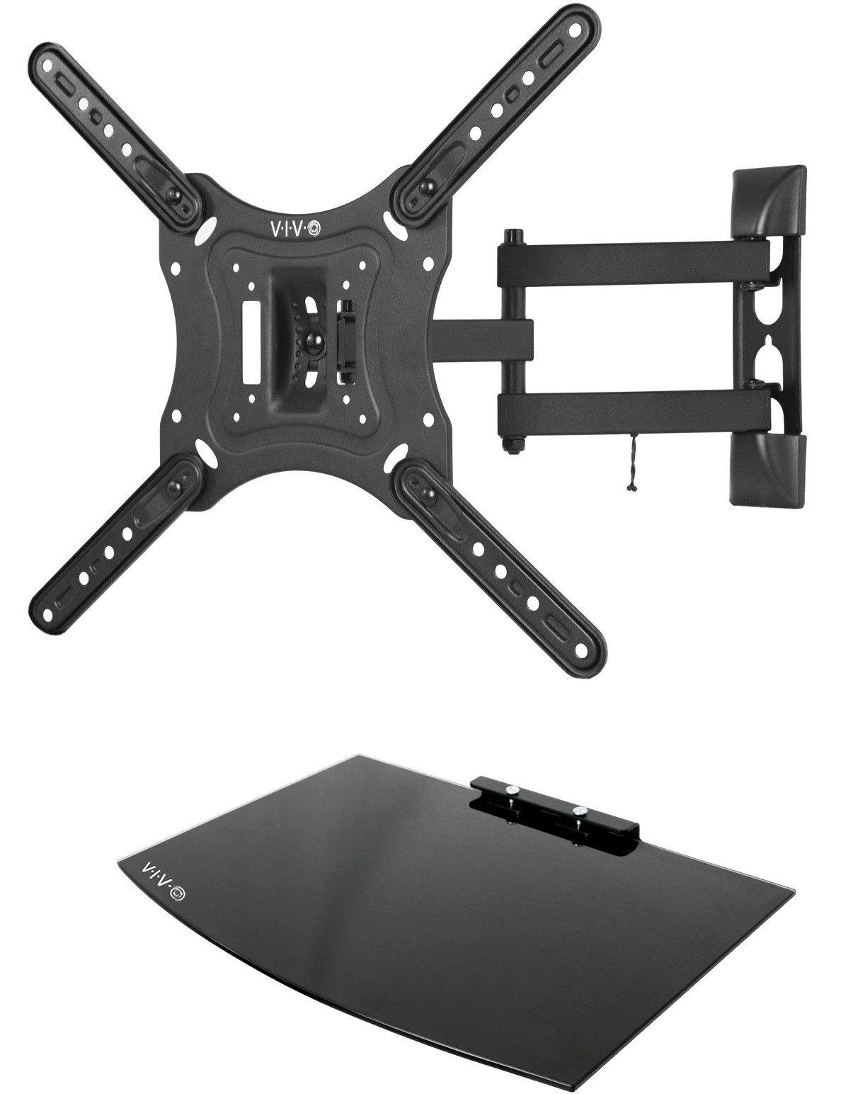 VIVO Black TV Adjustable Tilt Wall Mount & Entertainment Shelf Floating AV, DVD Shelving for Screens up to 55'' (MOUNT-VWSF1)