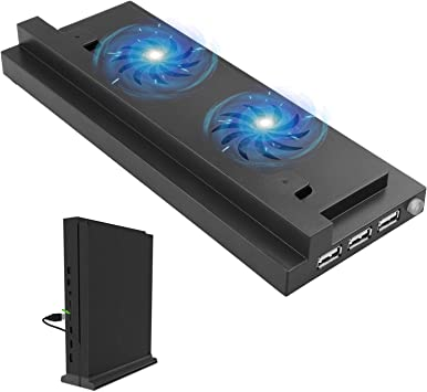 Linkstyle Base de enfriamiento Xbox One S, Soporte Vertical Xbox One S, 2 Ventiladores de Alta Velocidad incorporados, Carga USB de 3 Puertos y sincronización de Datos, Interruptor de Velocidad: Amazon.es: Electrónica