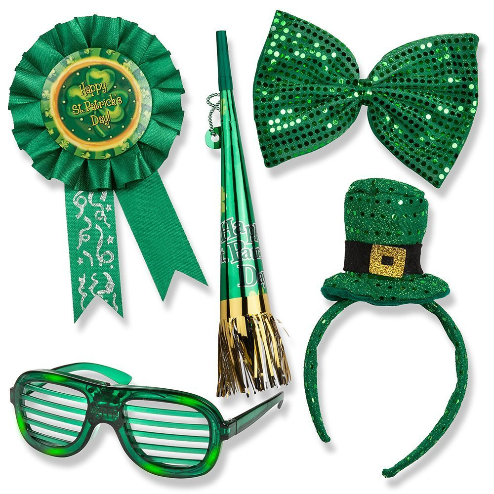 St. Patrick's Day Set; St. Patrick's Day Light up Glasses, Giant Bow Tie,