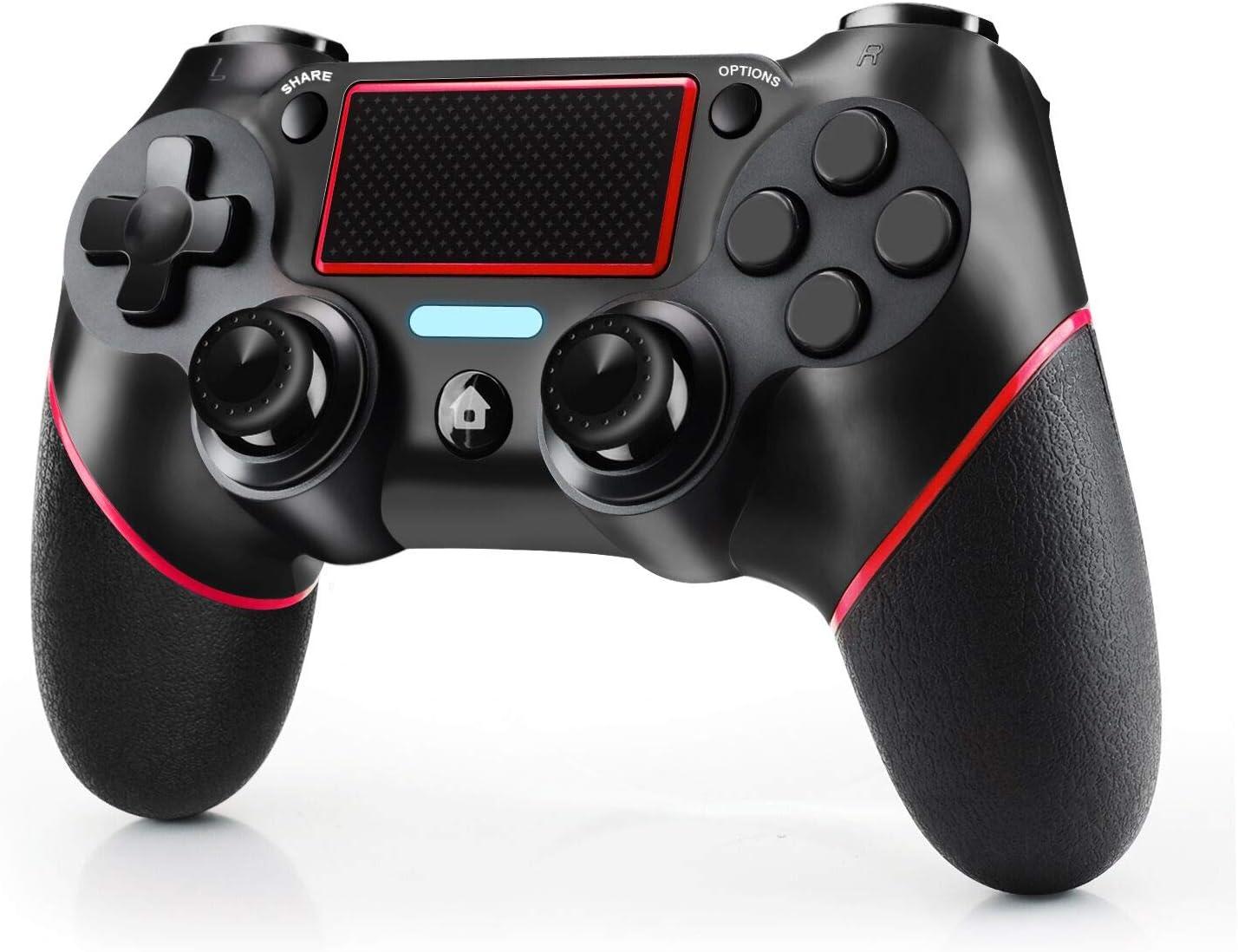 JAMSWALL Mando Inalámbrico para PS4, Mando para PS4/Pro/Slim/ PC, Controlador inalámbrico, Gamepad Wireless Bluetooth Controlador Joystick con Vibración Doble/Turbo/ Puerto de Audio/ Pantalla LED