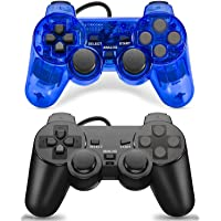 Burcica Wired Controller for PS2 Playstation 2 (Black and ClearBlue)