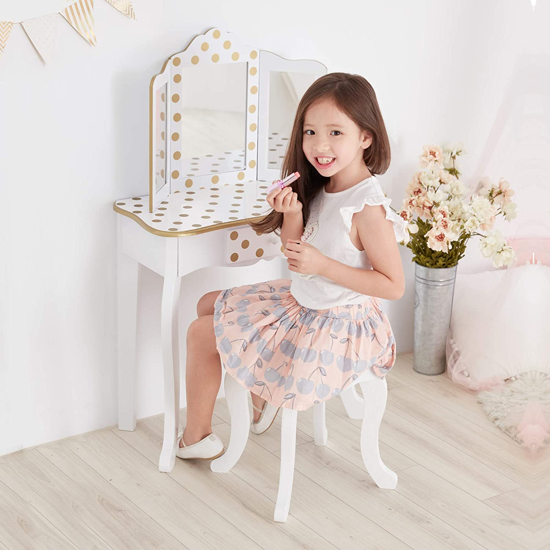 Teamson Kids Fashion Polka Dot Prints Coiffeuse Enfant TD-11670L Pink /& Gold