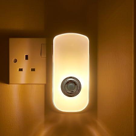 Auraglow plug in pir motion sensor led night light hallway safety living aid emergency torch