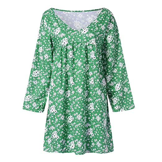 f7fdad739b Women Plus Size Floral Print Dress S-5XL Summer Loose Casual V Neck Long  Sleeve Beach Dresses